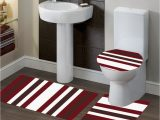 Maroon Bathroom Rug Sets 3 Pc 7 Stripe Burgundy High Quality Jacquard Bathroom