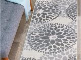 "Modern Floral Circles area Rug Modern Floral Circles Design Runner Rug 2 X 7 2"" Gray"