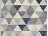 Modern Navy Blue Rug Capodanno Geometric Navy Ivory area Rug