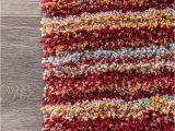 Multi Colored Striped area Rugs Handmade Striped Multi Color Plush Shag area Rugs