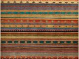 """Multi Colored Striped area Rugs Tribal Stripes Hand Knotted area Rug6 1"""" X 9 1"""""""