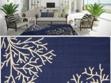 Navy and Coral area Rug area Rug Carpet Coastal Beach Tropical Ocean Sea Coral Navy Blue Ivory 5 X 7