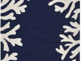 """Navy and Coral area Rug Liora Manne Capri Shell Coral Reef Indoor Outdoor Modern area Rug 24""""x36"""" Border Navy"""