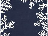 """Navy and Coral area Rug Liora Manne Capri Shell Coral Reef Indoor Outdoor Modern area Rug 30""""x48"""" Border Navy"""