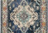 """Navy and Light Blue Rug Monaco Collection 6 7"""" X 9 2"""" Rug In Navy and Light Blue"""