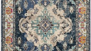 "Navy and Light Blue Rug Monaco Collection 6 7"" X 9 2"" Rug In Navy and Light Blue"