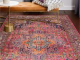 Navy and Pink area Rug Bright Boho Persian Rug Hot Pink Navy Blue Colorful area