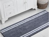 Navy and White Bath Rug Vcny Home Stripe Noodle 24 In 2020