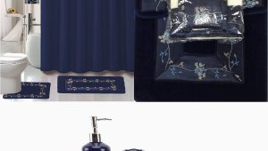 Navy Bathroom Rug Set Buy 22 Piece Bath Accessory Set Navy Blue Flower Bathroom
