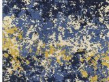 Navy Blue Abstract Rug Luper Abstract Navy Yellow area Rug