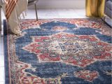 Navy Blue and Brown area Rug Dulin Persian Inspired Navy Blue area Rug