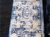 Navy Blue and Gray Runner Rug Unique Loom Bromley Collection Vintage Traditional Medallion Border Navy Blue Runner Rug 2 0 X 13 0