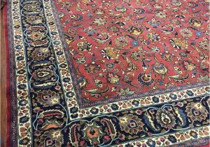 Navy Blue and Red Rug Hand Knotted Persian Rug Real Wool Allover Floral Navy Blue