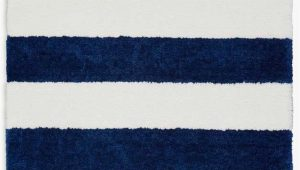 Navy Blue and White Striped Rug Chicago Striped Handmade Shag White Navy Blue area Rug