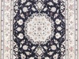 Navy Blue area Rug 7×10 Floral Navy Blue 7×10 Nain Persian area Rug
