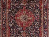 Navy Blue area Rug 7×10 Navy & Red Floral Traditional Tabriz Persian Wool area Rug