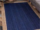 Navy Blue Braided Rugs Everhart Handmade Braided Jute Sisal Navy Blue Beige area Rug
