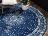 Navy Blue Circle Rug Dover Navy Blue Vintage 8 Ft Round area Rug In 2020
