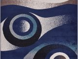 """Navy Blue Circle Rug Fy Collection Abstract Circles Design area Rug Modern Contemporary Rug 2 Color Options Navy Blue 18"""" X 30"""" Mat"""