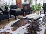 Navy Blue Cowhide Rug Fall Living Room with Navy Blue Chairs Layered Jute & Faux