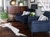 Navy Blue Cowhide Rug Living Room with Navy Chairs & Faux Cowhide Rug