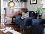 Navy Blue Cowhide Rug Midcentury Modern Inspired Navy Chairs Console Table Glass