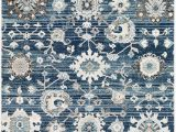 Navy Blue Floral area Rug Tiwari Home 9 X 12 3 Floral Navy Blue and Gray Rectangular