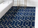 Navy Blue Fur area Rug Unique Loom Marilyn Monroe Glam Collection Textured Geometric Trellis area Rug 9 0 X 12 0 Rectangle Navy Blue Gold