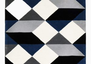 Navy Blue Geometric Rug Dresden Navy & Grey Geometric Wool Rug