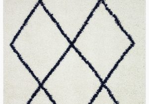 Navy Blue Geometric Rug Vienna Collection Modern Geometric Shaggy area Rug G2927 White & Dark Blue
