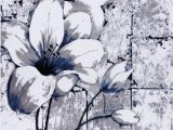 Navy Blue Grey and White area Rug Grey Blue Tulips Floral area Rug