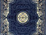 Navy Blue Large area Rug Traditional Persian oriental area Rug Dark Navy Blue Beige Carpet King Design 101 8 Feet X 10 Feet 6 Inch