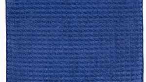 Navy Blue Memory Foam Bath Rug 24×59 Memory Foam Extra Long Bath Mat by Bedford Home Woven Jacquard Fleece Navy