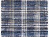 Navy Blue Plaid Rug Denim Plaid Handwoven Cotton area Rug