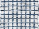 Navy Blue Plaid Rug Denim Rag Squares Plaid Hand Woven Flatweave Blue White area Rug