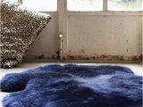 Navy Blue Sheepskin Rug Luxurious Midnight Blue Sheepskin Rug