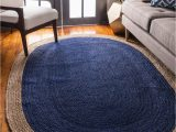 Navy Blue Sisal Rug Everhart Handmade Braided Jute Sisal Navy Blue Beige area Rug