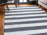 Navy Blue Striped area Rug Fantasy Star Rag Collection Hand Woven Striped Natural
