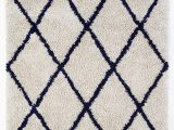Navy Gray and White area Rug Anji Mountain Silky Shag Ivory Navy Blue area Rug