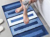 No Slip Bath Rug Lonior Bathroom Mats Non Slip Bath Mat Machine Washable Bathroom Rug Luxury Microfiber Bath Rug for Bathroom 80x50cm Blue White Striped