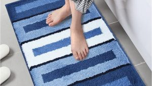 No Slip Bath Rug Lonior Bathroom Mats Non Slip Bath Mat Machine Washable Bathroom Rug Luxury Microfiber Bath Rug for Bathroom 80x50cm Blue White Striped