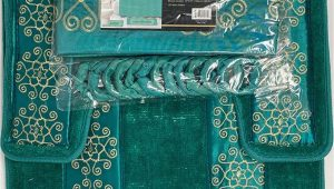 Non Slip Bathroom Rug Sets 4 Piece Bathroom Rugs Set Non Slip Teal Gold Bath Rug toilet Contour Mat with Fabric Shower Curtain and Matching Rings Florida Teal