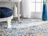 Nuloom Traditional Honeycomb area Rug Nuloom Traditional Floral Bordered Rug In Grey Ivory Blue