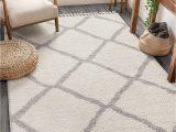 "Off White area Rug 5×7 Well Woven Celina White Moroccan Shag Diamond Trellis Pattern area Rug 5×7 5 3"" X 7 3"""