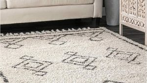 Off White Shag area Rug Moroccan Diamond Shag area Rug F White