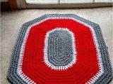 Ohio State Buckeyes area Rug Ohio State Buckeyes Crochet Rug Handmade Block O Throw Rug