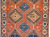Orange and Blue Persian Rug Rug M134 Yalameh Rugs oriental Persian Rug