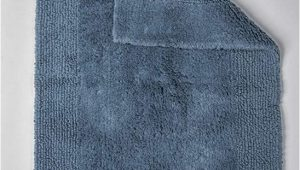 Organic Cotton Bath Rug Grund Puro Series organic Cotton Reversible Bath Rug 17 Inch by 24 Inch Sea Blue