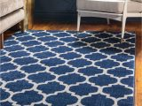 Ottomanson Royal Collection area Rug Unique Loom Trellis Collection Moroccan Lattice Dark Blue area Rug 5 0 X 8 0