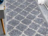 """Ottomanson Ultimate Collection Moroccan Trellis Design Shag area Rug Ottomanson Ultimate Shaggy Moroccan Trellis area Rug Gray 2 7""""x8"""